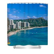 Diamond Head And Waikiki Shower Curtain by William Waterfall - Printscapes