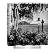 Diamond Head In Black And White Shower Curtain