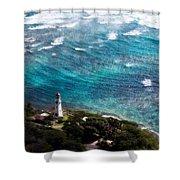Diamond Head Lighthouse Shower Curtain
