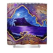 Diamond Head Moon Oahu #141 Shower Curtain
