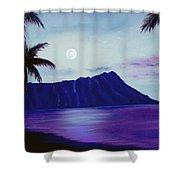 Diamond Head Moon Waikiki #34 Shower Curtain