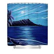Diamond Head Moon Waikiki Beach #288 Shower Curtain