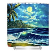 Diamond Head Moon Waikiki Beach #407 Shower Curtain