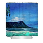 Diamond Head Moonscape #371 Shower Curtain