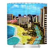 Diamond Head Waikiki Beach Kalakaua Avenue #94 Shower Curtain