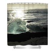 Diamond On Diamond Beach Black Sand Waves Clouds Iceland 2 2162018 1985.jpg Shower Curtain