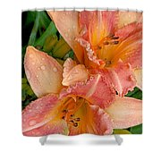 Diamonds And Lilies Watercolor Shower Curtain