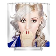 Diet Woman Covering Mouth With Secret Recipe Spoon Shower Curtain