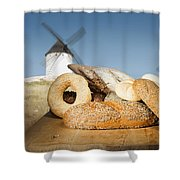 Different Breads And Windmill In The Background Shower Curtain