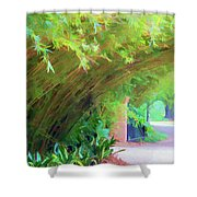 Digital Bamboo Rip Van Winkle Gardens  Shower Curtain