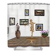 digital exhibition _ A sculpture of a dancing girl 3 Shower Curtain