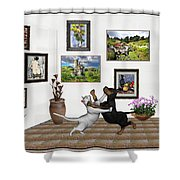 Digital Exhibition _ Dancing Lovers Shower Curtain