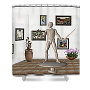 Digital Exhibition _ Guard Of The Exhibition1 Shower Curtain