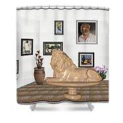 Digital Exhibition _  Sculpture Of A Lion Shower Curtain