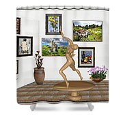 digital exhibition _ Statue 2 of Girl  - Zombie Shower Curtain