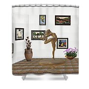 digital exhibition _ Statue of girl 42 Shower Curtain