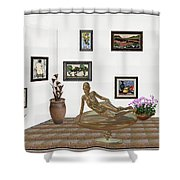 digital exhibition _ Statue of girl 48 Shower Curtain