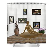 digital exhibition _ Statue of girl 49 Shower Curtain