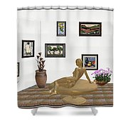 digital exhibition _ Statue of girl 52 Shower Curtain