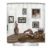 digital exhibition _ Statue of Girl 6 Shower Curtain