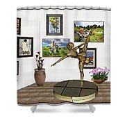 digital exhibition _ Statue of girl acrobat 35 Shower Curtain