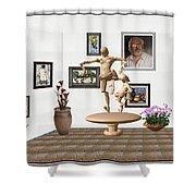 digital exhibition _ Statue of  Mother and child zombies Shower Curtain