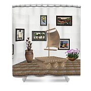 digital exhibition _ Statue raft with sails 3 Shower Curtain