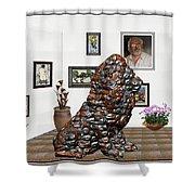 digital exhibition _Modern Statue of scrap Shower Curtain