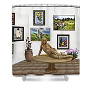 digital exhibition _Statue 1 of posing girl 221 Shower Curtain