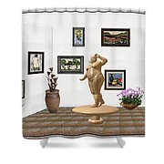 digital exhibition  Statue 23 of posing lady  Shower Curtain