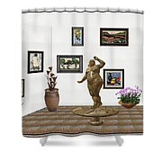 digital exhibition  Statue 25 of posing lady  Shower Curtain