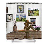 digital exhibition _Statue 4 of posing girl 221 Shower Curtain