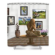digital exhibition _Statue 5 of posing girl 221 Shower Curtain