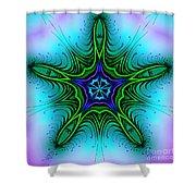 Digital Kaleidoscope Green Star 001 Shower Curtain