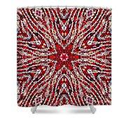 Digital Kaleidoscope Red-white 4 Shower Curtain