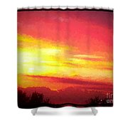 Digital Oil Painting Of Sunset Shower Curtain