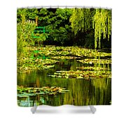 Digital Paining Of Monet's Water Garden  Shower Curtain