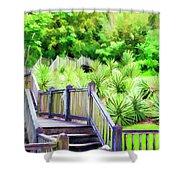 Digital Paint Landscape Jefferson Island  Shower Curtain