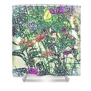 Digital Pencil Sketch Flowers Shower Curtain