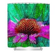 Digital Pink Echinacea  Shower Curtain