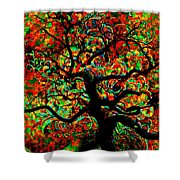 Digital Tree Impressionism Pixela Shower Curtain