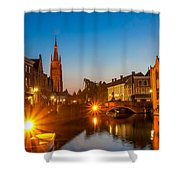 Dijver Canal At Night Shower Curtain
