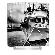 Diligence Bw Shower Curtain