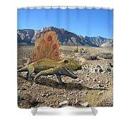 Dimetrodon In The Desert Shower Curtain