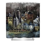 Dinant Watercolor Shower Curtain