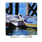 Dinghies At The Dock Shower Curtain
