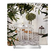 Dining In The Courtyard Shower Curtain