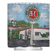 Dino Sinclair Gas Station Shower Curtain