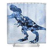 Dinosaur Rex-blue Shower Curtain