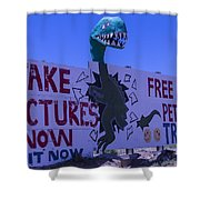 Dinosaur Sign Take Pictures Now Shower Curtain